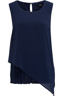Sleeveless Shaped Hem Chiffon Layer Top - Navy