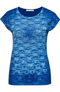 Anna Rose Embellished Lace Layer Top - Cobalt
