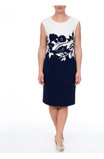 Anna Rose Sleeveless Midi Ottoman Dress - Navy
