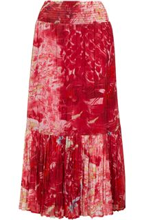 Printed Crinkle Georgette Elasticated Waist Maxi Skirt