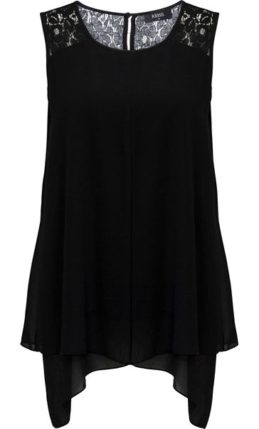 Sleeveless Chiffon And Lace Trim Top