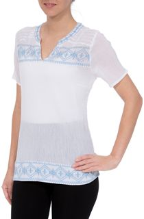Anna Rose Embroidered Crinkle Cotton Top - White