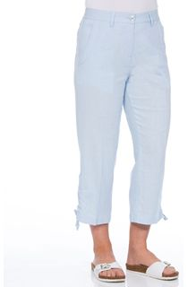 Anna Rose Linen Blend Cropped Trousers - Grey