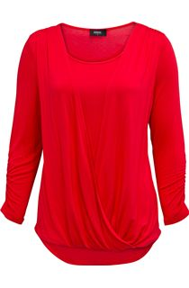Draped Jersey Three Quarter Sleeve Top - Red