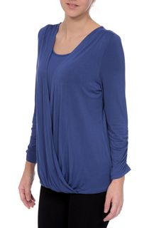 Draped Jersey Three Quarter Sleeve Top - Lt Blue