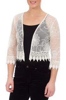 Embroidered Mesh Cover Up - White
