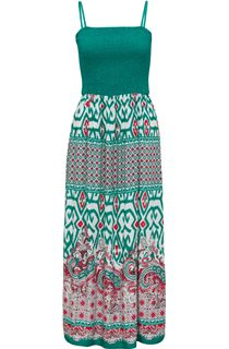 Smocked Bodice Printed Maxi Dress