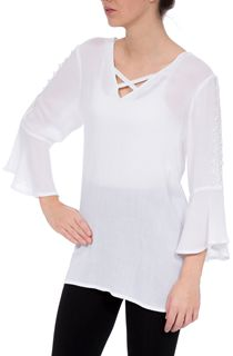 Fluted Three Quarter Sleeve Top