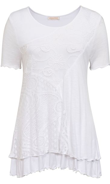 Anna Rose Layered Lace Trim Top