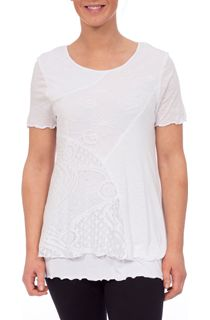 Anna Rose Layered Lace Trim Top - White