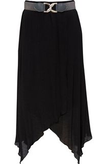 Cross Over Hanky Hem Belted Skirt - Black