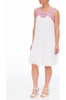 Embroidered Crinkle Cotton Sleeveless Layered Midi Dress