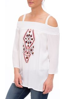 Smocked Cold Shoulder Embroidered Top