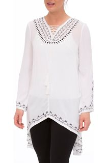 Embroidered Shaped Hem Long Sleeve Top