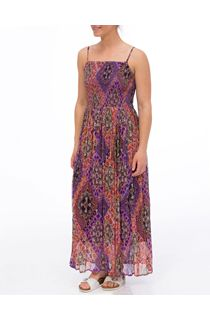 Smocked Printed Maxi Dress