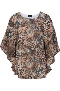 Georgette Embellished Animal Print Cover Up