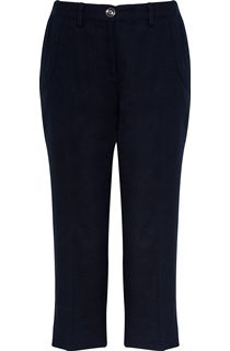 Anna Rose Linen Blend Cropped Trousers - Blue