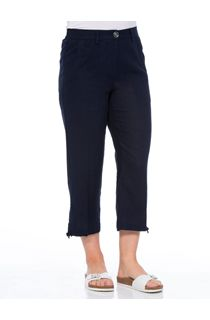 Anna Rose Linen Blend Cropped Trousers - Navy