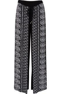 Printed Wrap Front Trousers - Black