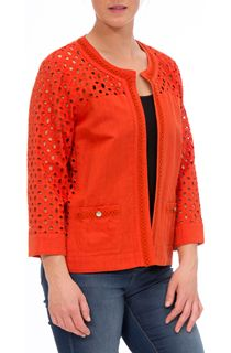Broderie Anglaise Linen Blend Jacket - Burnt Orange