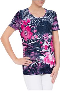 Anne Rose Floral Jersey Round Neck Top