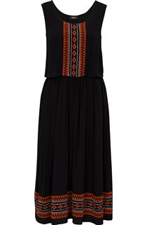 Embroidered Sleeveless Midi Dress
