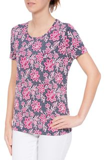 Anna Rose Floral Textured Short Sleeve Jersey Top
