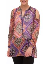 Cold Shoulder Printed Chiffon Tunic
