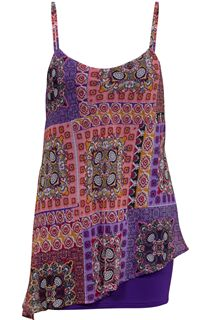 Sleeveless Printed Layered Chiffon And Jersey Top