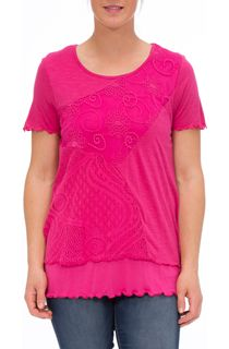 Anna Rose Short Sleeve Layered Top - Bubblegum