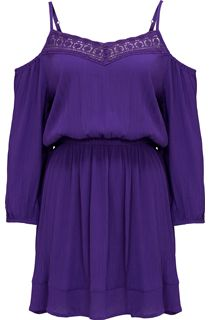 Cold Shoulder Lace Trim Tunic - Purple