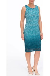 Ombre Lace Fitted Sleeveless Midi Dress - Turq