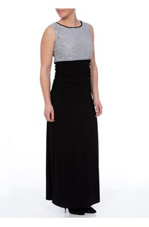 Lace Top Sleeveless Maxi Dress - Black/Grey