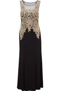 Embellished Sleeveless Maxi Dress - Black/Gold
