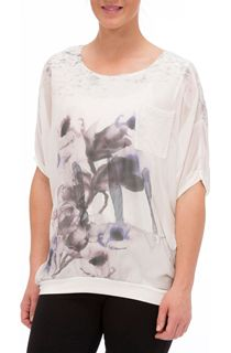 Floral Watercolour Printed Round Neck Top