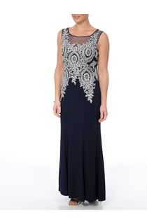 Embellished Sleeveless Statement Maxi Dress - Midnight/Silver