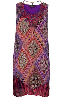 Printed Sleeveless Layered Tunic