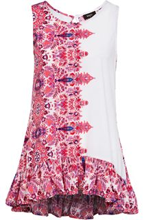 Sleeveless Floral Frill Tunic