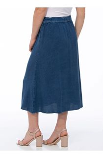 Anna Rose Washed Button Through Skirt - Blue