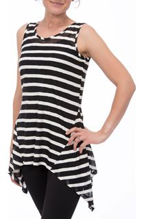 Striped Sleeveless Dipped Hem Top