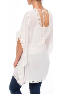Embroidered Short Sleeve Crepe Cover Up