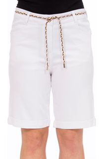Stretch Shorts With Tie Belt