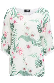 Embellished Garden Print Round Neck Top