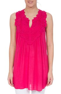 Sleeveless Crochet Trim Top - Bright Pink