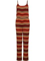 Printed Pleated Strappy Jumpsuit