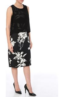 Chiffon Layer Printed Scuba Midi Dress