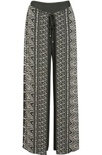 Printed Wrap Front Trousers - Sage