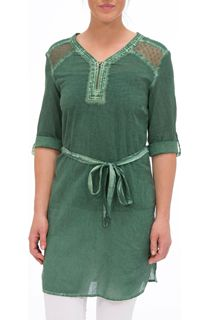 Washed Turn Sleeve Cotton Tunic - Sage