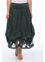 Lace Hem Cotton Midi Parachute Skirt