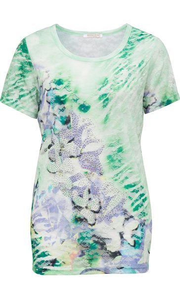 Anna Rose Printed Embellished Lace Top